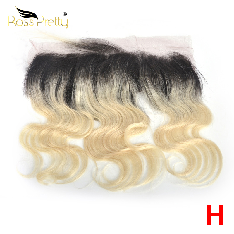 Ross Pretty High Ratio Remy Brazilian Hair Body Wave Lace Front 1b Blonde Color Middle and Free Part Frontal 13x4 Ombre1b/613 image