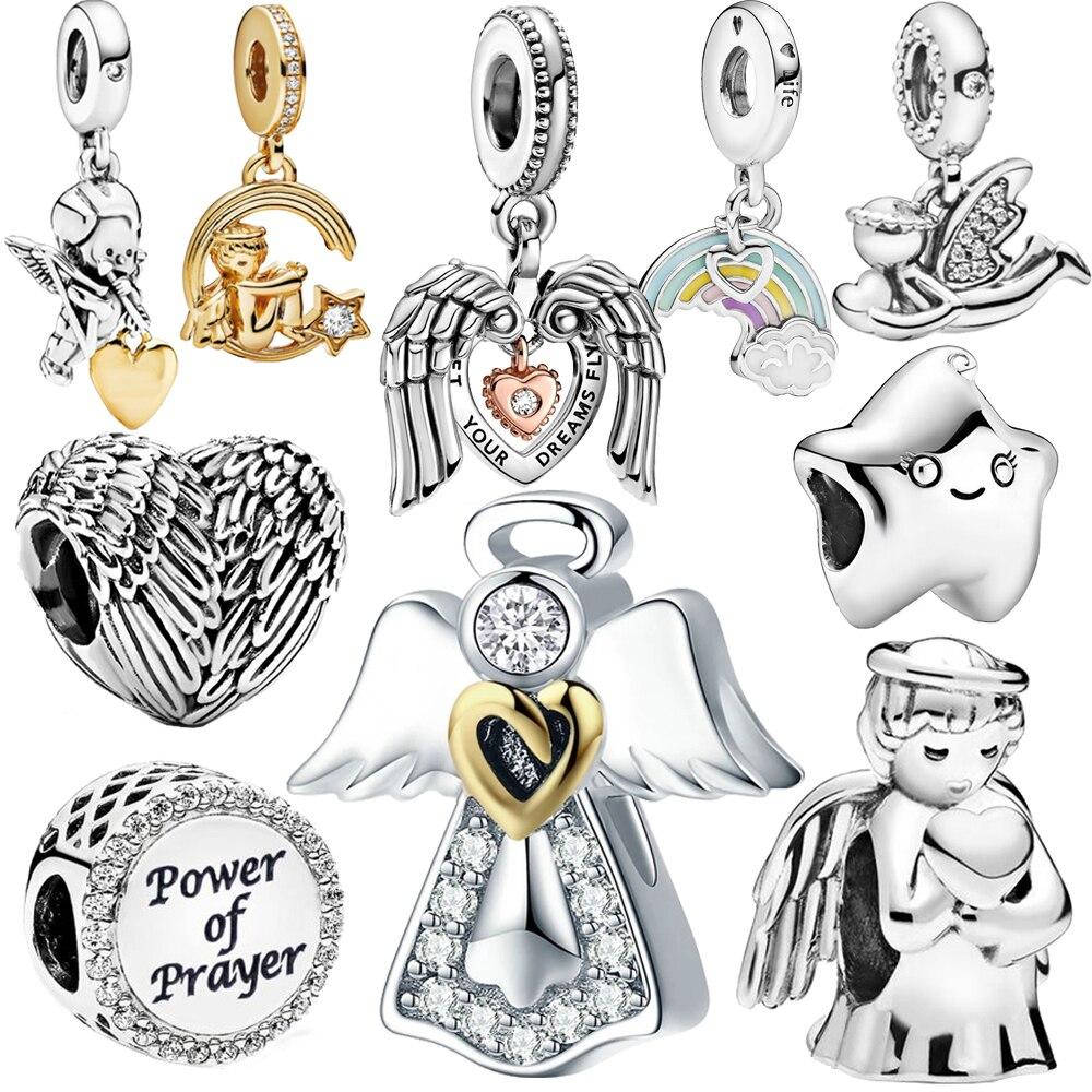 New 100% 925 Sterling Silver Beads Angel Wings of Love Heart Charms Fit Original Pandora Bracelets Women DIY Jewelry