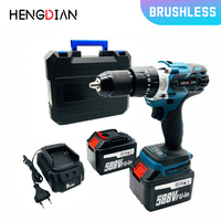 18 Volt Max Brushless Motor Electric Impact Drill Cordless Screwdriver LED Worklight 100Nm Torque 13mm 2 Speed
