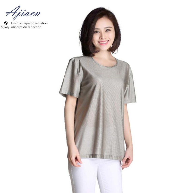 Ajiacn Electromagnetic Radiation Protective Clothing Household And Office Electric Appliances EMF Shielding Silver Fiber T-shirt