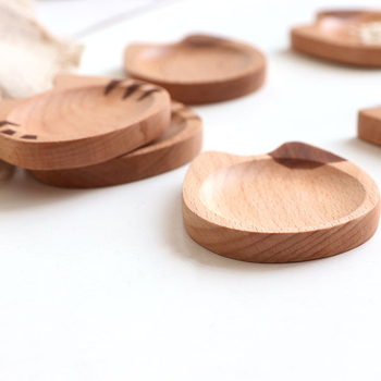 Wooden Cat Coffee Coasters 1