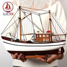 LUCKK Simulation Fishing Sailing Boat Model Mediterranean Marine Wood Craft Nautical Decor home Retro Ship Figurines Accessories