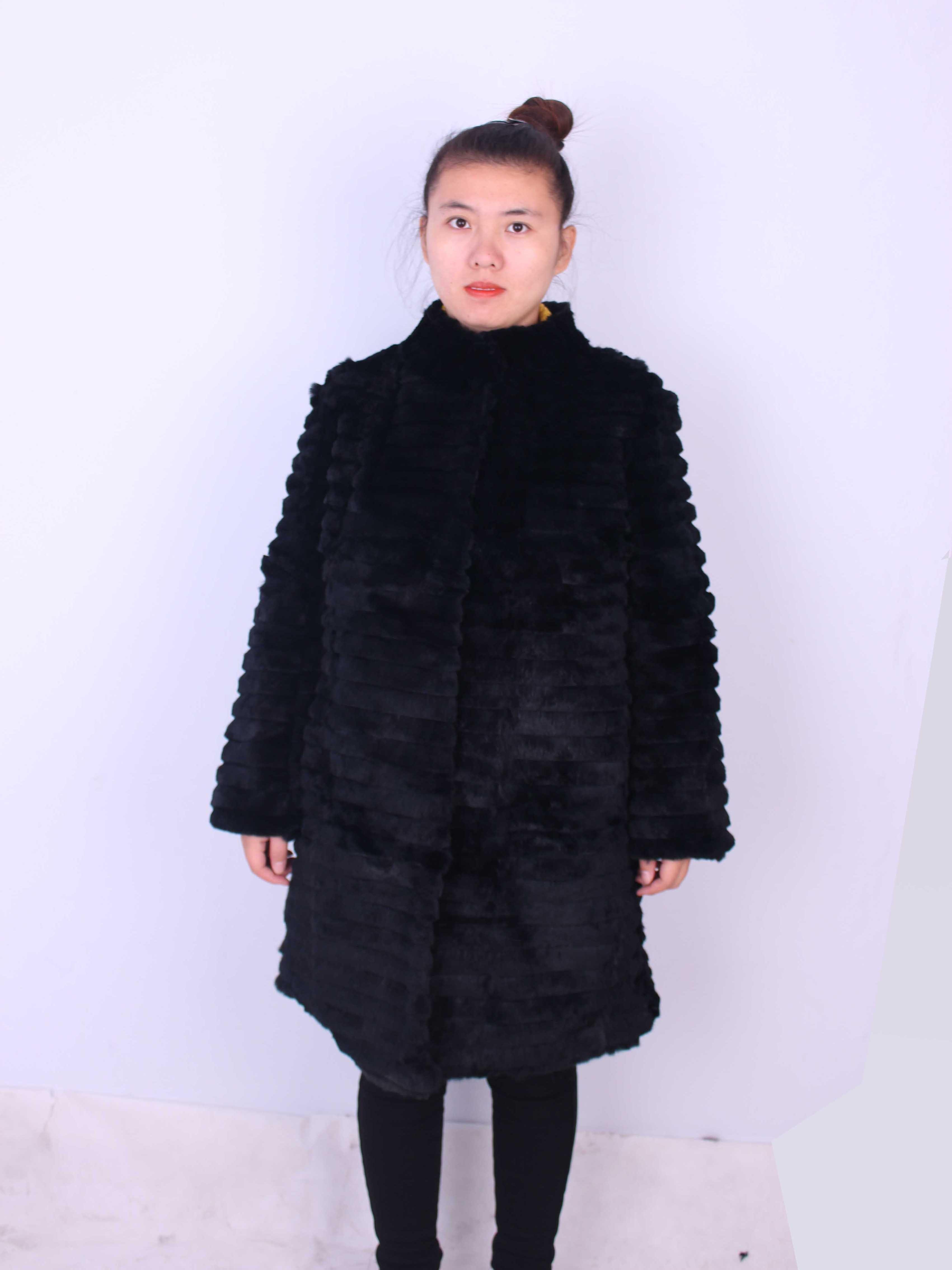 Linhaoshengyue 80cm long rabbit natural  fur coat with 62cm  sleeve length