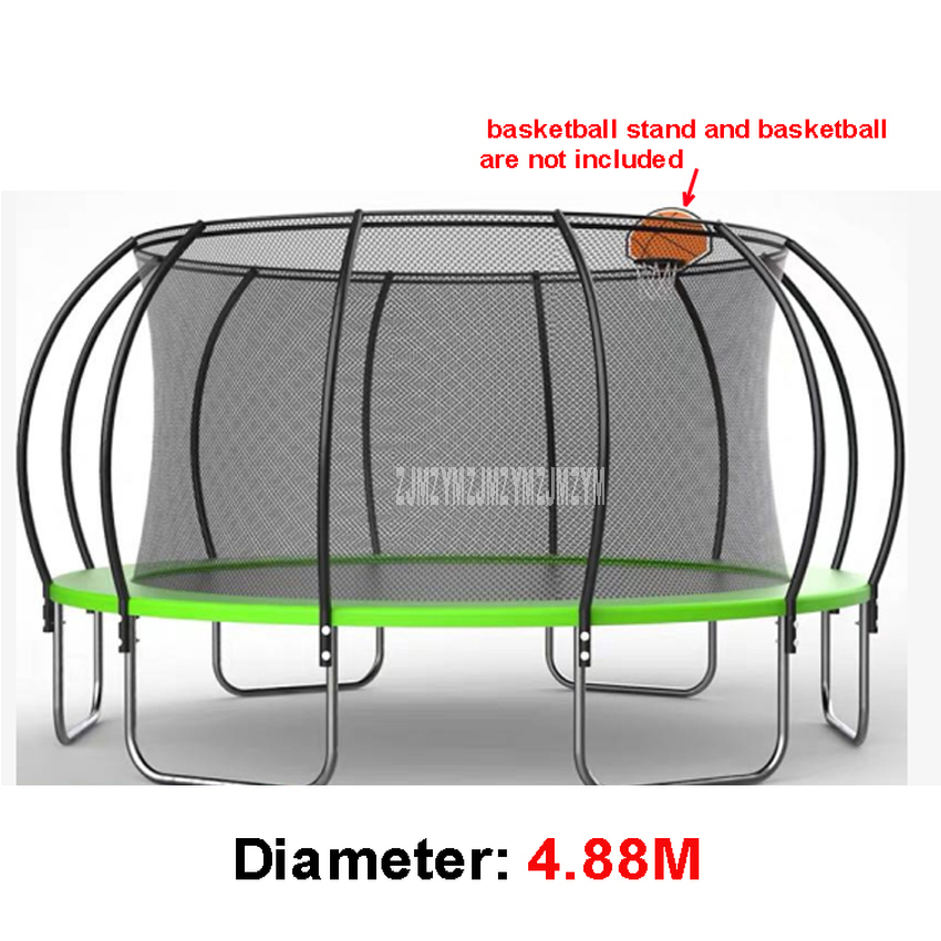 16 Feet Outdoor Trampoline With High Protective Net Safety Supper Large Commercial Kindergarten Basketball Bouncing Bed For Kids