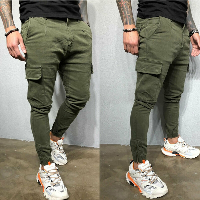 Men's Fashion Slim Pocket Urban Straight Leg Trousers Jogging Joggers Cargo Pant Casual Skinny Pencil Pants