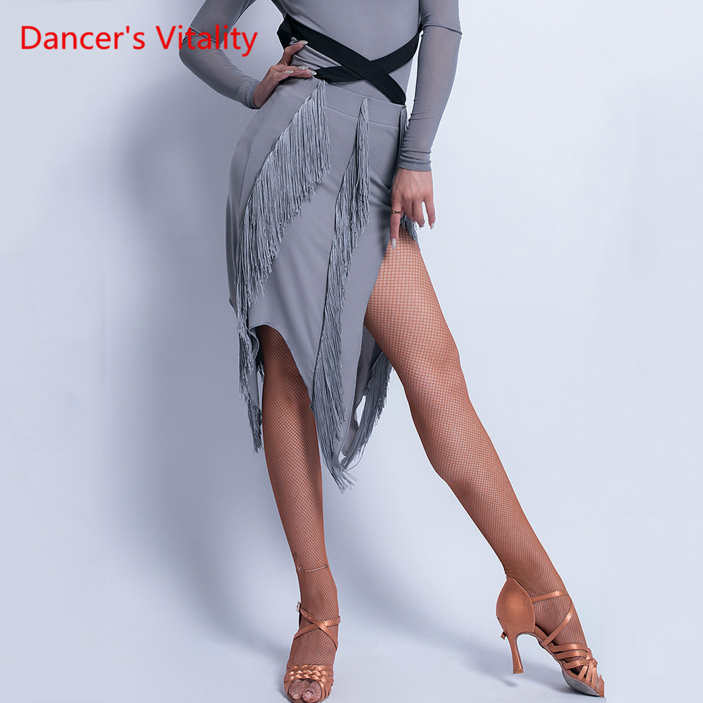 Latin Dance Female Adult Sexy Skirt Competition Training Dance Clothing New Tassel Slit Profession Exercise Suit