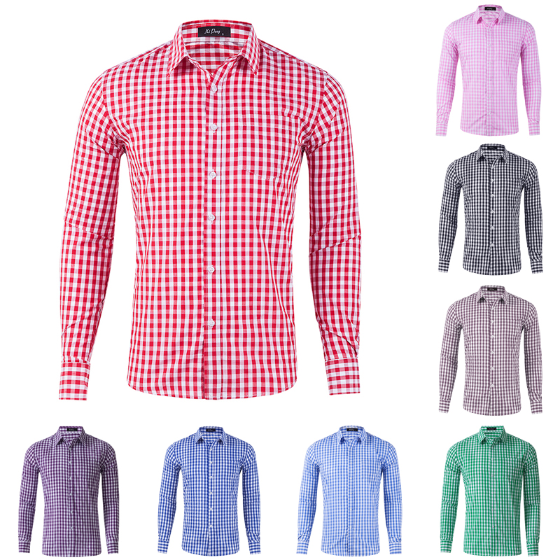 Men's Dress Shirts Long Sleeve Plaid Button Down Comfortable Cotton Chemise Homme Casual Checkered Boy Shirts New Streetware