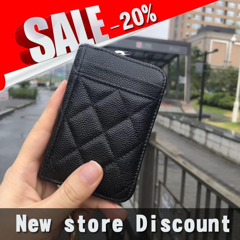 Luxus Hohe Qualität Frauen Echtes Leder Caviar Business Bargeld ID Karte Holde Brieftasche Geldbörse karte fall kreditkarte brieftasche