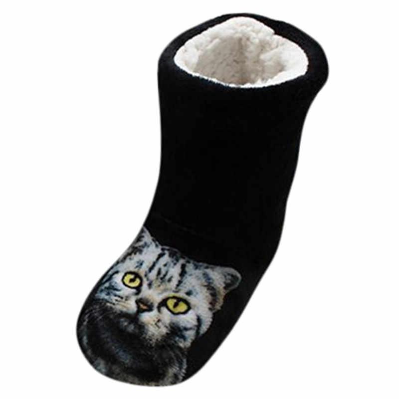SAGACE Kedi Baskı Çizmeler Kadınlar Için 2019 Süper Sıcak Süet Tek Yumuşak Noel Çizmeler Bayan Ayakkabıları