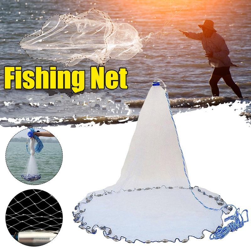 mão-throw fly fish rede com ferro sinkers