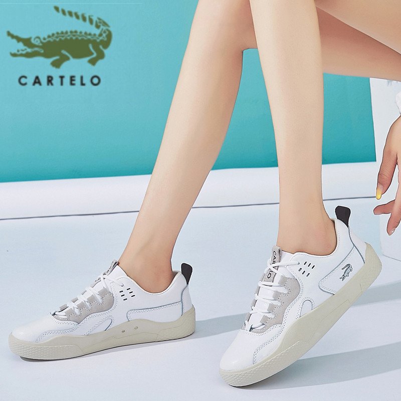 CARTELO Lace-up Soft Bottom Women's Shoes Round Toe Wear-resistant Thick Bottom Sports Casual Shoes Women's Fashion Comfortable