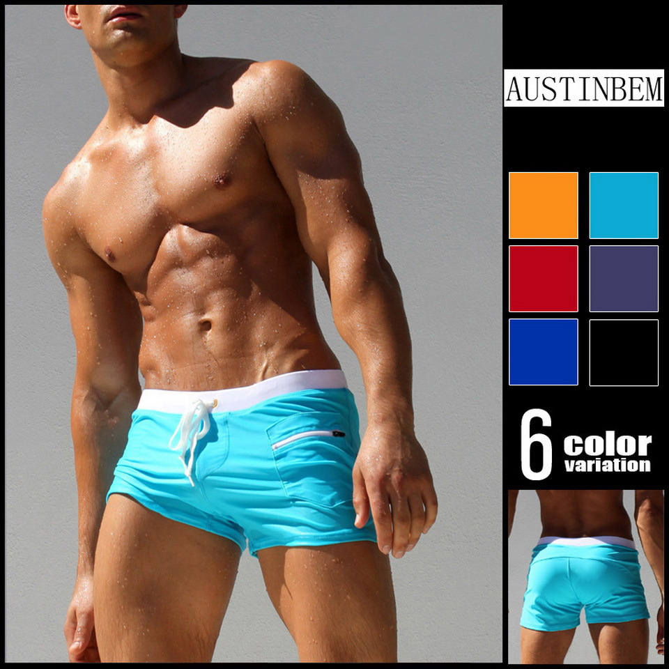 -Front Pocket Swimming Pants Fashion Zipper Bathing Suit MEN'S Swimming Trunks Beach Tour Pants