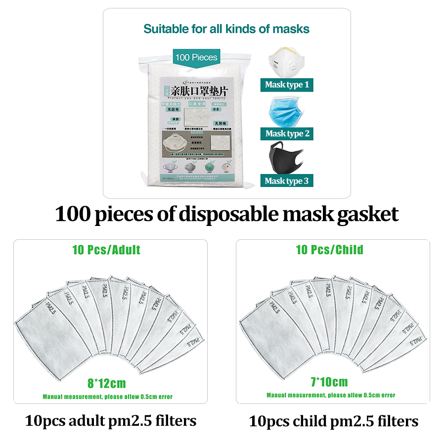 100/10pcs Disposable Filter Mask Gasket Kid Adult Face Mouth Mask Respirator PM25 Suitable Face Masks