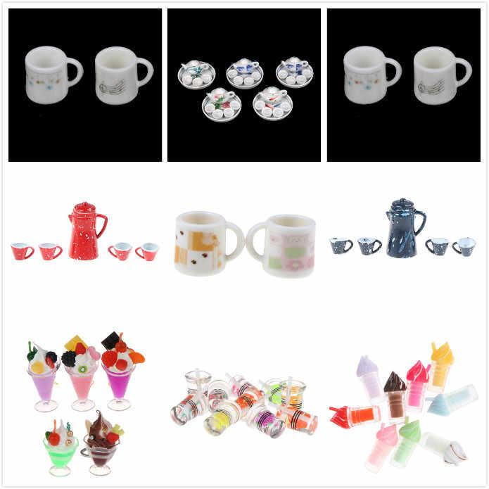 1/12 Rumah Boneka Mini Ketel Simulasi Furniture Teh Pot Dapur Model Mainan untuk Dekorasi Rumah Boneka Miniatur Aksesoris