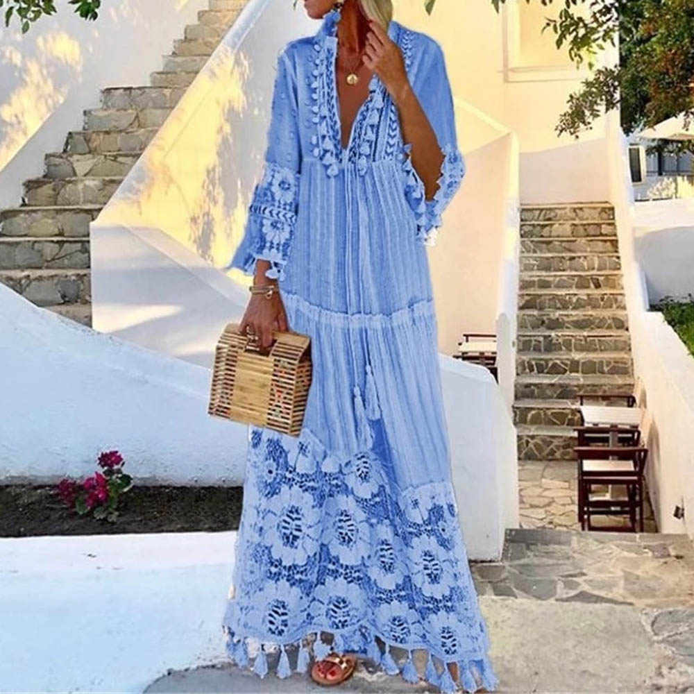 夏の秋セクシーな V ネックドレスタッセル中空アウトドレス女性 2020 新ボヘミアン花プリントビーチドレス Vestidos ピンク