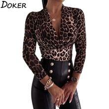 Женские топы и блузки Осенние повседневные Модные леопардовые