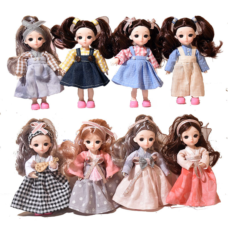 BJD Doll  Moveable Jointed 15cm 1/6 Dolls 3D Eyes Bjd Plastic Doll For Girls Toys Long Wig Female  Fashion Wig Clothes Shoes Set