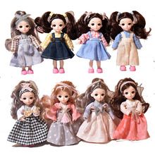 BJD Doll  Moveable Jointed 16cm 1/6 Dolls 3D Eyes Bjd Plastic Doll for Girls Toys Long Wig Female  Fashion Wig clothes shoes Set 13 moveable joints 1 6 3d eyes bjd doll toys with accessories clothes shoes bag hat fashion figure nake dolls toy for girls gift