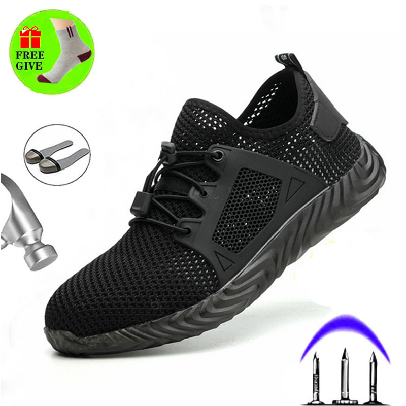 Men safety shoes with metal toe indestructible ryder shoe work boots with steel toe dwaterproof water breathable sneakers work s