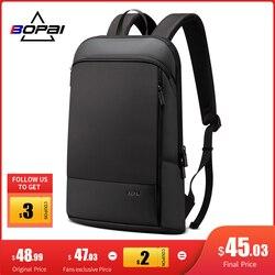 BOPAI mince sac à dos pour ordinateur portable hommes 15.6 pouces bureau femmes sac à dos sac d'affaires étanche noir ultraléger sacs à dos mince sac à dos