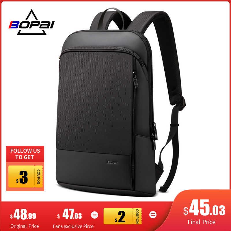 Bopai magro portátil mochila homens 15.6 polegada trabalho de escritório mulheres mochila de negócios unisex preto ultraleve mochila fina volta pacote