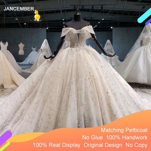 HTL1037 2020 새로운 볼 가운 웨딩 드레스 아가씨 칼라 어깨 위로 레이스 위로 디자인 웨딩 드레스 vestido de noiva