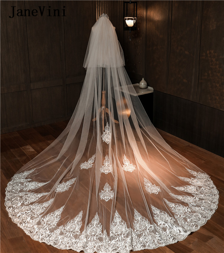 JaneVini Vintage Ivory Bridal Veils For Wedding Two Layer Appliques Edge Cathedral Long Veil With Comb Tulle Wedding Accessories