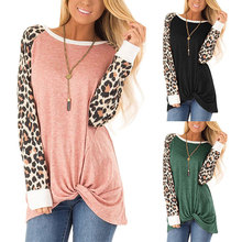 цены на New Women's T-Shirt Autumn 2019 Hot Leopard Print T Shirts Casual Round Collar Long Sleeve Loose T-shirt Female Knot Hem Tops  в интернет-магазинах