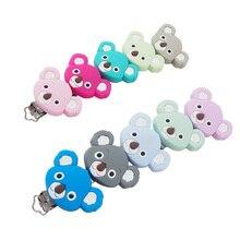 Chenkai 10 adet sevimli koala silikon emzik klip hayvanlar tutucu için diş hekimleri DIY bebek hemşirelik emzik klipleri zincirleri aksesuarları