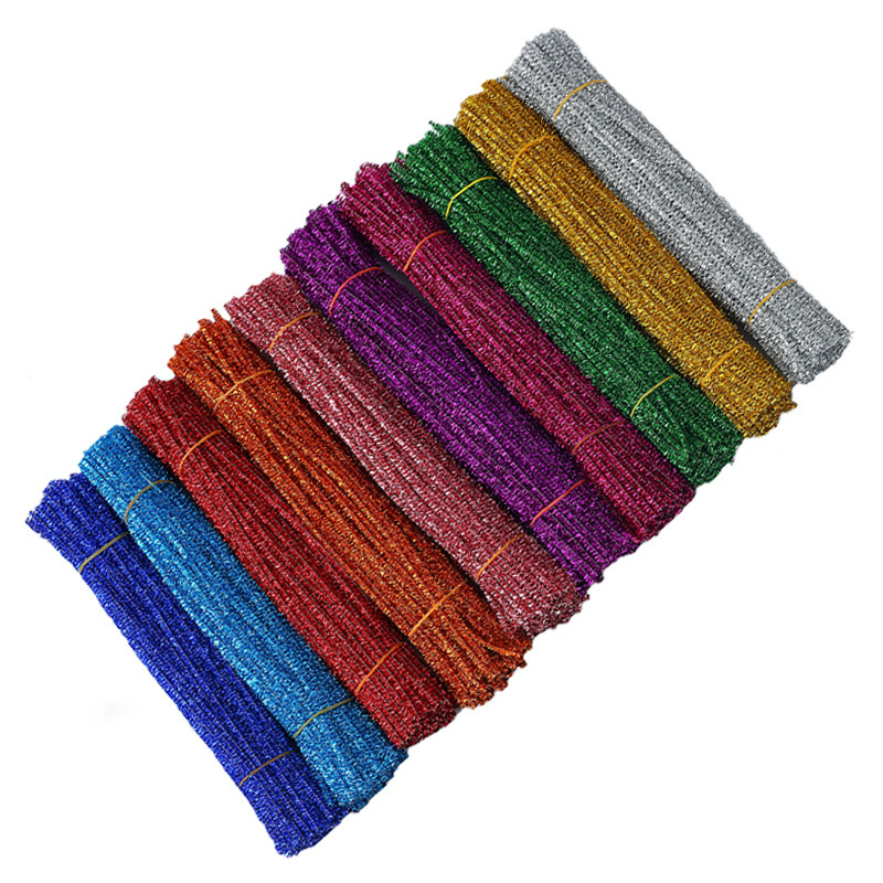 100pcs Glitter Chenille Stems Pipe Cleaners Plush Tinsel Stems Wired Sticks Kids Educational DIY Crafts Supplies Handicraft Toys