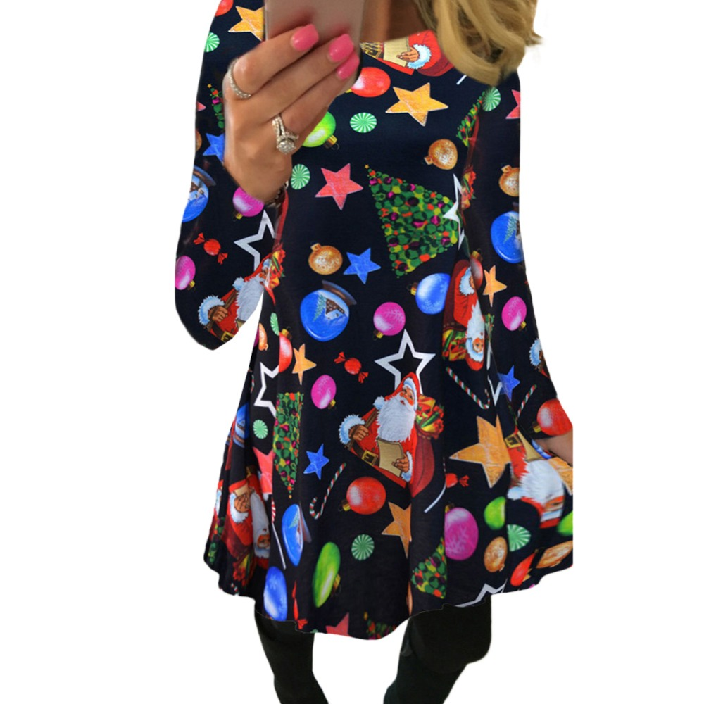 5XL Plus Size Women Winter Clothing Christmas Dress Santa Claus Star Snow Ball Print Dress Party Long Sleeve O Neck Mini Dresses