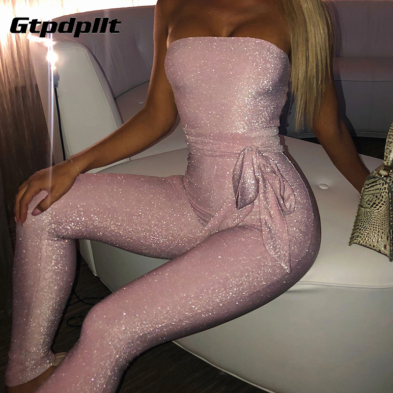 Gtpdpllt Off Shoulder Sexy Sparkle Jumpsuit Women Pink Bodycon Bandage Long Pants Glitter Backless Party Rompers Womens Jumpsuit