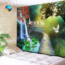 Boho Decor Psychedelic Tapestry Flowers Mandala Wall Tapestry Wall Hanging Lotus Pond Scenery tapiz pared tela grande gobelin