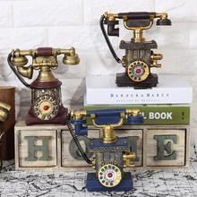 Teléfono antiguo modelo Vintage hucha antigua Vintage cabina de teléfono resina llamada Retro teléfono estatuilla para la decoración del hogar