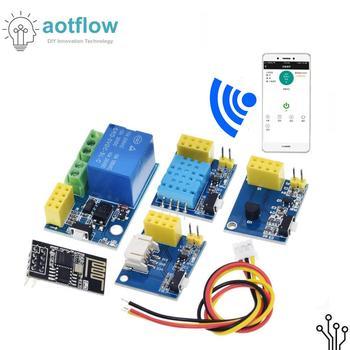 Módulo de relé ESP8266 5V WiFi DS18B20 DHT11 RGB LED controlador cosas control remoto en casa inteligente interruptor de control de teléfono APP ESP-01S esp32