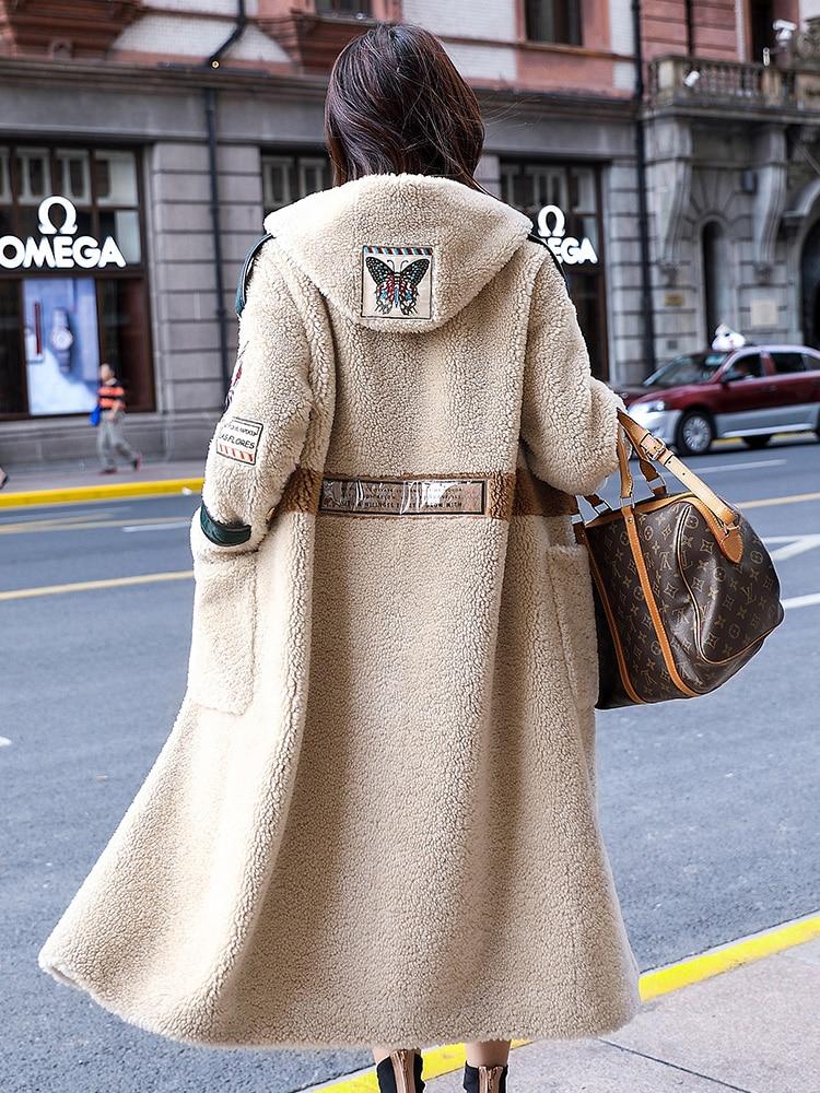 2019 Korean Long Jackets Manteau Femme Real Fur Coat Female Sheep Shearling Wool Coats Winter Jacket Women PP249