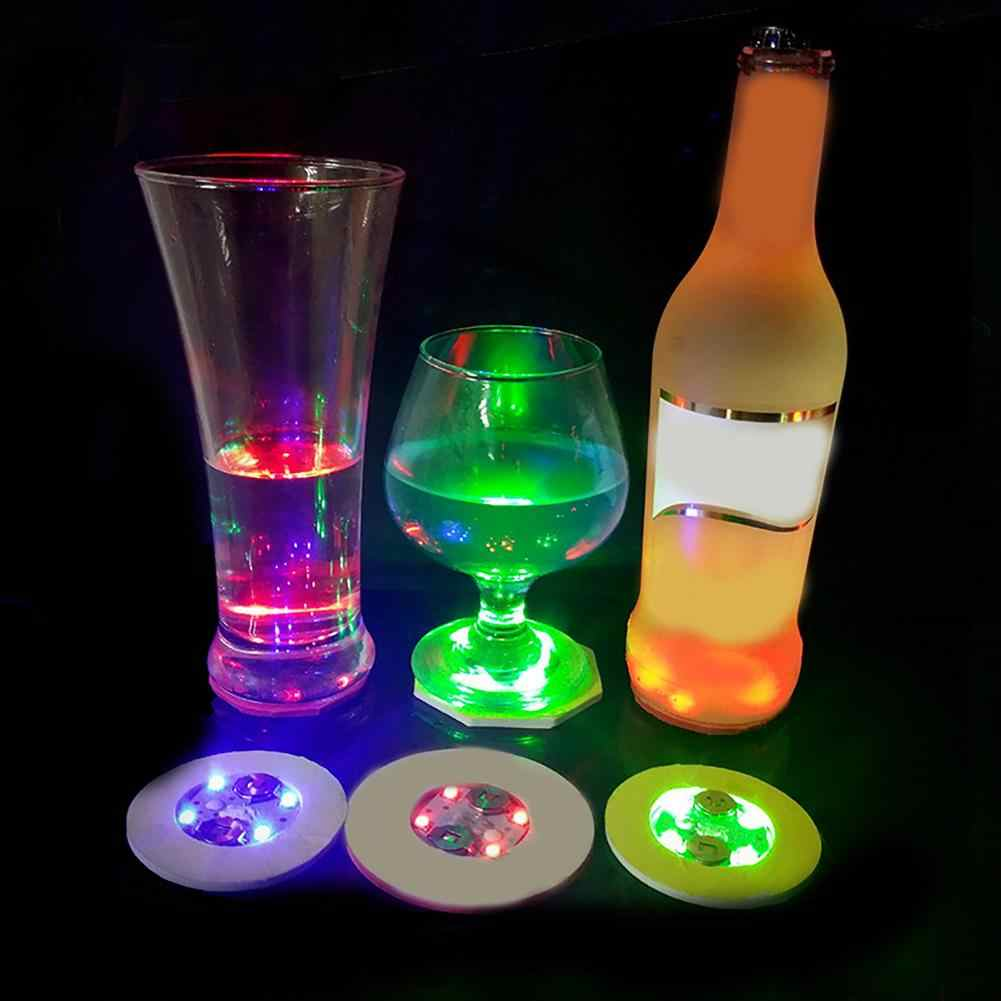 Mode Lichtgevende Fles Led Licht Cup Sticker Mat Bar Club Party Onderzetters Decor Auto Interieur Accessoires