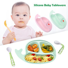 Divided Silicone Baby Plates Non-Slip Dishwasher Spoons Forks Cute Toddlers Feeding Training Tableware(China)