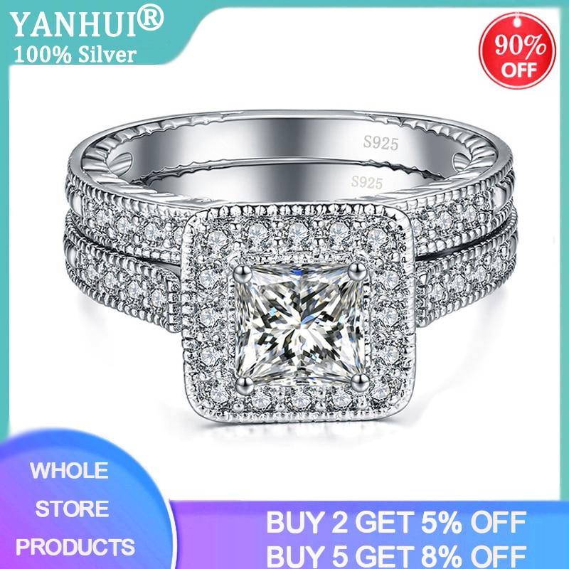 With Certificate 2pcs 100% Original 925 Silver Wedding Band Rings Set Princess Cut Square 1.0ct Zirconia Diamond Rings for Women(China)