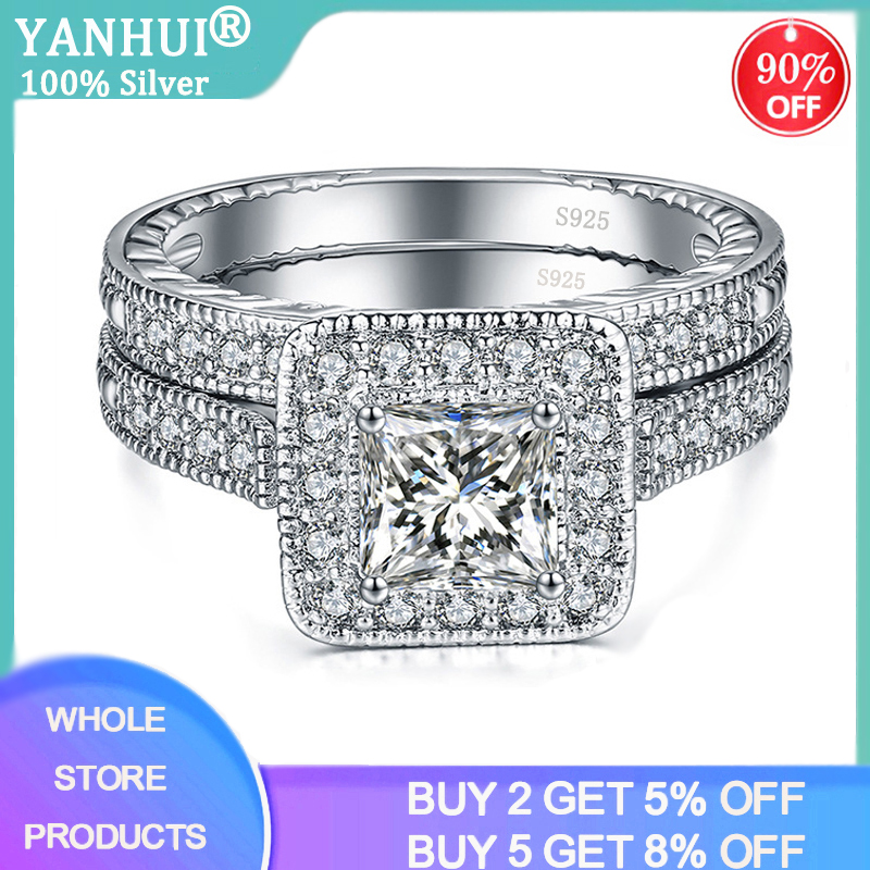 YANHUI 2pcs/set With Certificate 100% Original 925 Silver Wedding Rings Set Square 1.0Ct Zirconia Diamond Rings For Women R293