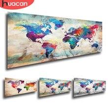Huacan pintura diamante quadrado completo mapa do mundo 5d diy diamante bordado venda paisagem mosaico imagem de strass decoração da sua casa