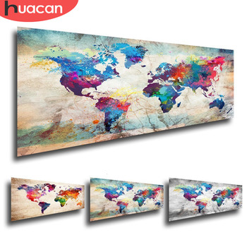 HUACAN Full Square Diamond Painting World Map 5D DIY Embroidery Sale Landscape Mosaic Picture Of Rhinestone Home Decor