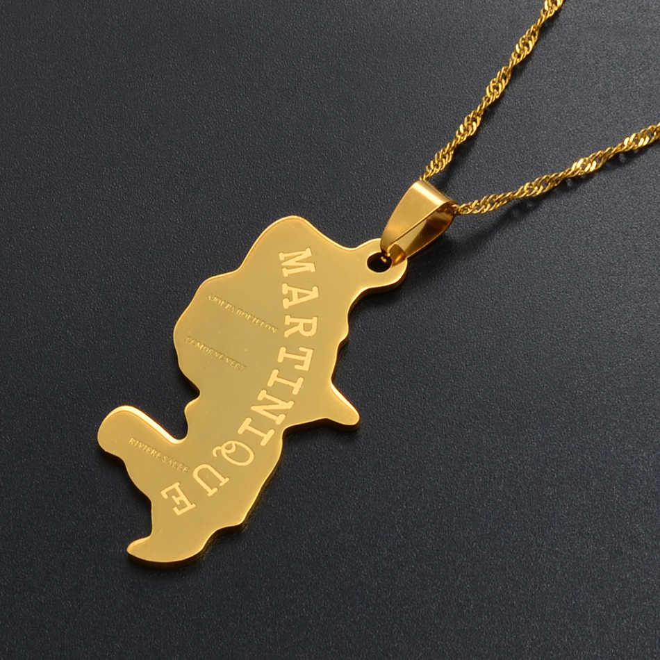 Anniyo złoty kolor mapa martyniki wisiorek naszyjniki dla kobiet/mężczyzn mapy biżuteria prezenty #003808