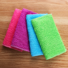 1PC Soft Multi-color Anti-grease Bamboo Fiber Cleaning Rags Washing Towel Dish Cloth Household Kitchen Dinning Accessory Tools