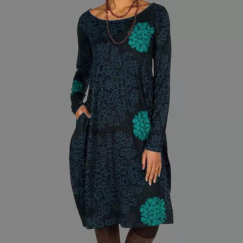 Senhoras retro floral em torno do pescoço nova primavera outono de manga comprida elegante na altura do joelho vestido senhoras novo casual solto saia bolso
