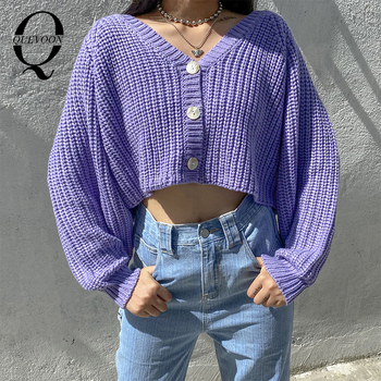 QUEVOON Puff Sleeve Buttoned V-Neck Cardigans Loose Style Casual Women Sweaters Autumn Winter Solid Violet Color Clothing 2020 buttoned v neck cardigan