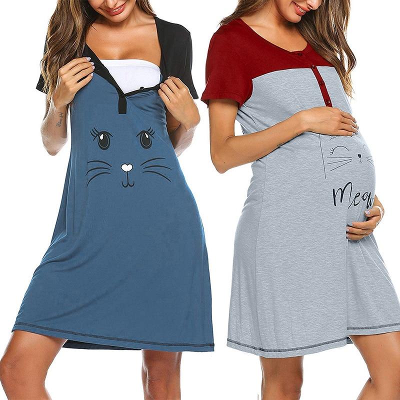 wholesale sports shoes lowest price Maternity Dress Women Cartoon Print Short sleeve Nightdress cotton ...