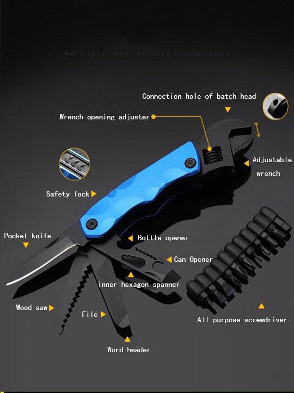 EDC multi-functional combination tool 5-in-1 adjustable socket wrench home and outdoor portable folding wrench pliers
