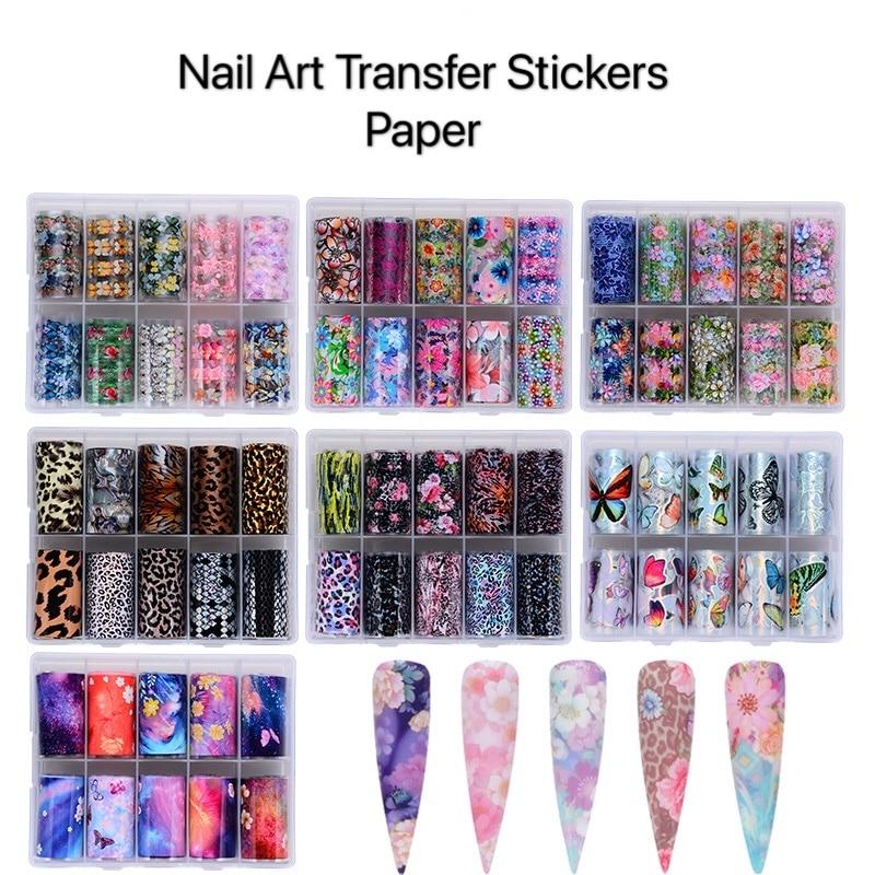 10Pcs/box Nail Foils Sticker Serpentine Leopard Flower Nail Art Transfer Stickers Paper Slide Wraps Decal Nail Decoration
