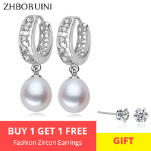 все цены на 2015 Fashion Pearl Earrings 100% Real Natural Freshwater Pearl 925 Sterling Silver Pearl Dangle Earrings Jewelry For Woman онлайн